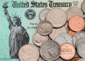US coins on IRS tax refund check